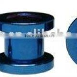 blue anodised surgical steel with 2 piece externally threaded tunnel flat flange body jewelry piercing