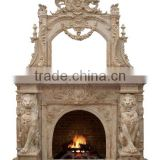 Luxury two-tiered hand carving lion sculpture marble fireplace mantel
