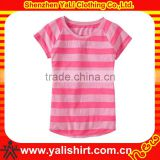 New design fancy cheap soft o-neck short sleeve 100%cotton striped blank baby t-shirts wholesale