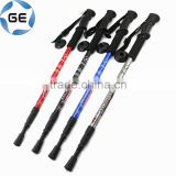 Rubber Grip 3 Sections Telescopic Trekking Pole Outdoor Walking Alpenstock Aluminium Alloy Hiking Stick