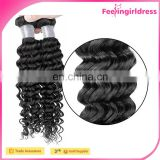 Factory Cheap Natural Human Hair Deep Curly Wavy 3A Virgin Crochet Hair Extension
