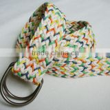 Fashion double D-ring waxed cord knitted belts-KL0036