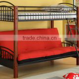 twin over futon metal bunk bed wood post