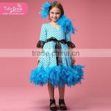 New design dress girls leisure feather blue baby dress fashion