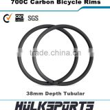 Wholesale carbon bike tubular rim 38mm profile 700c carbon bicycle rims 16-36 holes road bicycle wheels                                                                         Quality Choice