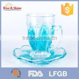 FDA approved flower sharp crystal glass cup set with handle