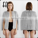 Factory direct wholesale price open front rabbit knitted fur cape