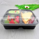 OEM Three Compartment Black Takeaway Food Container with Clear Lid PP Plastic Fast Food Packaging Stackable Box Container