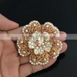 Metal Flower AB Rhinestone Brooch Pin,Color Rhinestone Brooches And Pins For Wedding Imitation