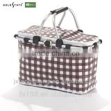 double pole environmental waterproof folding shopping basket/picnic basket/vehicle-mounted cooler bag