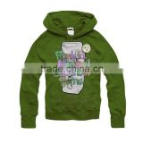 wholesale long sleeve 100%cotton beauty child green hoodie
