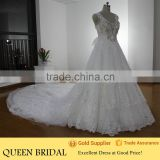 Real Works Beaded Crystal Suzhou Ball Gown Wedding Dresses with Train