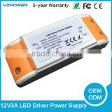 12V led power supply 3a constant voltage IP43 plastic case led driver 100~240V ac dc lighting transformer