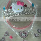 Children Baby Girls Imitation Pearls Necklace&Ear Clips&Rings&Crown Jewelry Sets