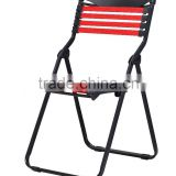 Favorable comfortable bungee cord folding chair/ elastic bungee folding chair/ elastic folding chair with metal frame TXW-1016