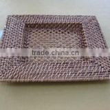 Rectangle rattan plate brown charger plate cheap charger plates