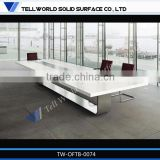 High quality acrylic solid surface boardroom table/meeting room table/conference table socket