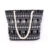 bamboo foldable canvas tote bag rope handle in elephant pattern printing
