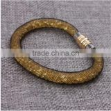 Hot Sale Nylon Mesh Pipe PU Bracelet With Crystal