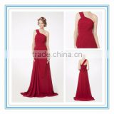 New Elegant Red Natural Waist Bridesmaid Gown A-Line One Shoulder Long Chiffon Bridesmaid Wedding Dress Patterns 2015(RHM-2102)