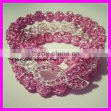 GZKJL-BL0091 Crystal Shamballa bead Pink Ribbon Triple bracelet, Rhinestone Breast Cancer Awareness wrap bracelet