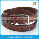 Beyond Brown Pyramid Studs Rivets and Perforated Decor Single Layer Genuine Leather Belt