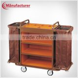 Hotel Housekeeping Wood Service Trolley With Linen Bag