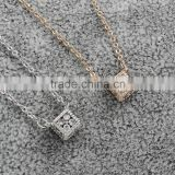 Cubic Zircon Micro Pave Brass Necklace with 5cm extender chain Cube plated oval chain micro pave cubic zirconia