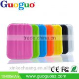Guoguo colorful dual usb traveler Suitcase size Portable 10400mah rohs Power Bank with toch led light