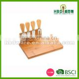 Cheese cutting board with 4 PCS knife set made of durable bamboo