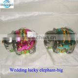 Vintage glass hanging deco lucky elephants, wedding figurines elephant , wedding accessory