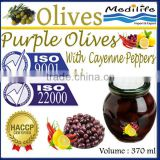 100% Tunisian Purple Table Olives,Purple Olives with Cayenne Peppers and Lemon,Purple Table Olives. 370 ml Glass Jar