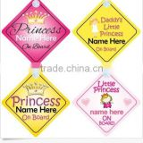 Princess on Board Personalised Girl BabyChild Car Sign - Choice of designs!