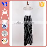 Bandeau design solid top nice stripes botton backless cross dress