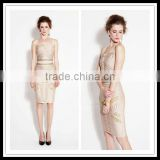 2 Pieces women bandage bodycon ladies short tight dress