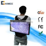 19inch widescreen lcd network portable backpack lcd walking stree billboard advertising player