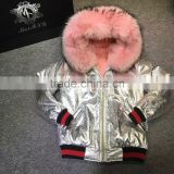 2017 Winter Fashion Sliver Leather Jacket With Pink Faux Fur Lined Leather Wear