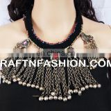 Antique Ethnic Beaded old Coin Necklace - Designer Heavy Banjara Kuchi Beaded Necklace 1960s Vintage Tribal Gypsy necklace