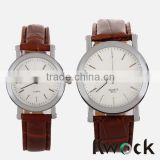 Brown leather cheap couple watch,promotional watch sets with cheap price