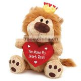 red heart stuffed plush toys, stuffed lion with heart