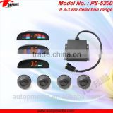 PS-5200 car anti-collision sensor system with LED monitor display,beep alert and 0.3-3.8 sensor detection