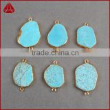 Classic 18k gold plated blue turquoise slice jewelry charm with double bails, new hot sale turquoise jewellery connector