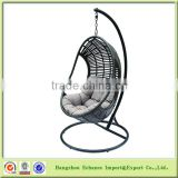 Promotional Cheap STOCK outdoor Patio PE rattan hanging egg chair with cushion and stand-FN4105