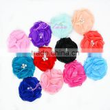 Chiffon flower appliques, fabric flowers bulk, silk poppies, small fabric embellishments