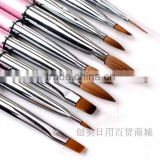 Hot! 9pcs Acrylic UV Gel Nail Art False Tips Drawing Painting Brush Pen Set with metal handle and cap