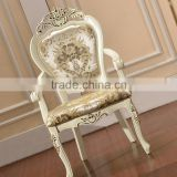 European noble antique carved white royal high back wooden chair