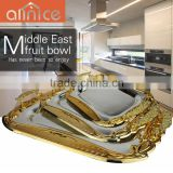 Hot selling hotel items serving tray silver plating with gold edge/ss410 with Zine-alloy handles serving tray