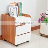Modern wooden white shining glossy filing cabinet/file cabinet with universal wheel/casters