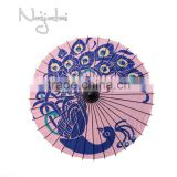 Peacock Pink Background Hand Painted Handmade Japanese Paper Umbrella