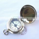 BRASS DALVEY COMPASS - NAUTICAL COMPASS WITH LID - CHROME COMPASS WITH LID - PUSH BUTTON COMPASS